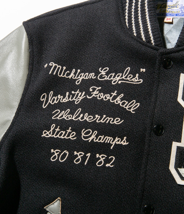 "Lot No. WV14649-119 / 30oz. WOOL MELTON AWARD JACKET ""MICHIGAN EAGLES"" (BLACK)"