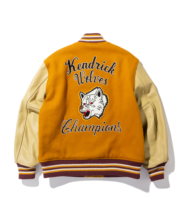 "Lot No. WV14649-156 / 30oz. WOOL MELTON AWARD JACKET ""KENDRICK WOLVES"" (GOLD)"