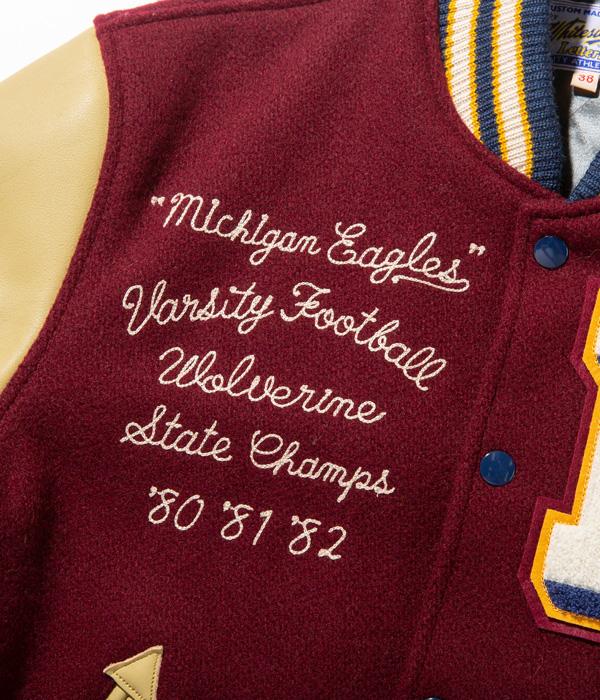 "Lot No. WV14649-170 / 30oz. WOOL MELTON AWARD JACKET ""MICHIGAN EAGLES"" (WINE)"