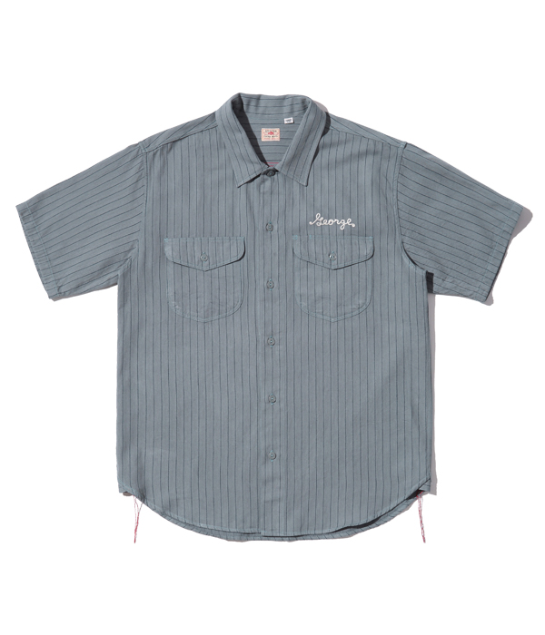 Lot No. SC38710 / COKE STRIPE WORK SHIRT with EMBROIDERED (SHORT SLEEVE)