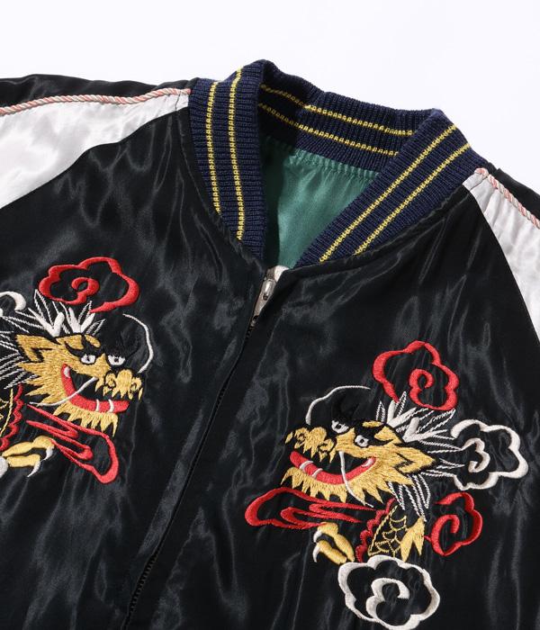 "Lot No. TT14571-119 / Mid 1950s Style Acetate Souvenir Jacket ""DRAGON"" × ""JAPAN MAP"""