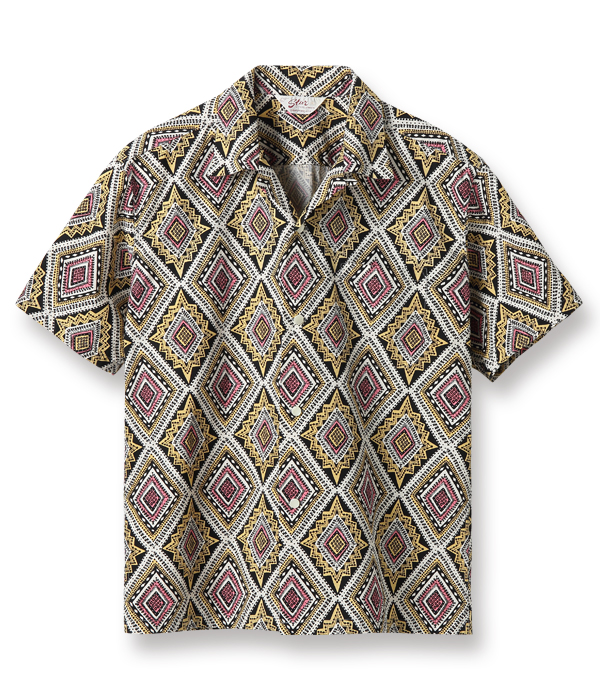 "Lot No. SH38386 / BROAD COTTON OPEN SHIRT ""GEOMETRIC DIAMOND"""