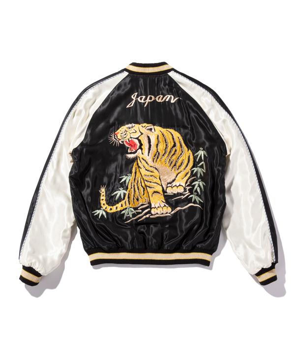 "Lot No. TT14813-119 / Mid 1950s Style Acetate Souvenir Jacket ""ROARING TIGER"" × ""LANDSCAPE"" (Reversible Side)"
