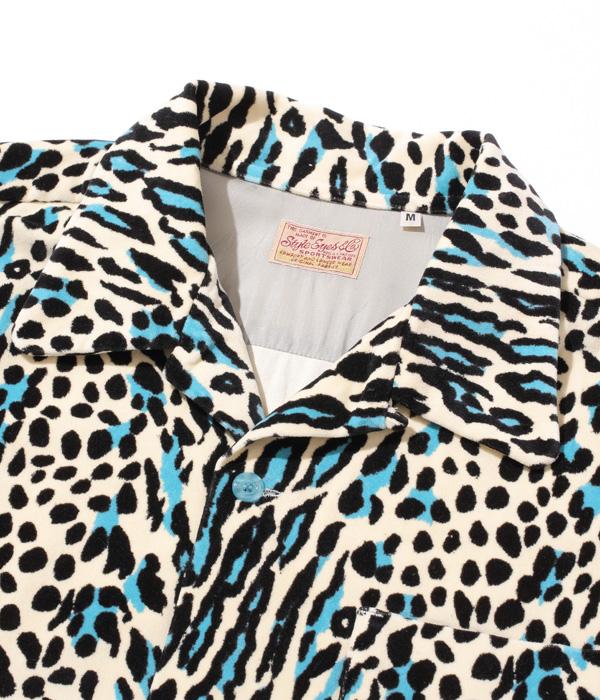 "Lot No. SE28748 / Mid 1950s Style Velveteen Sports Shirt ""LEOPARD"""
