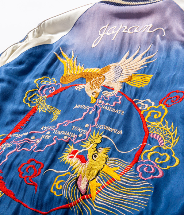"Lot No. TT14814-119 / Early 1950s Style Acetate Souvenir Jacket ""WHITE TIGER"" × ""JAPAN MAP"" (AGING MODEL) (Reversible Side)"