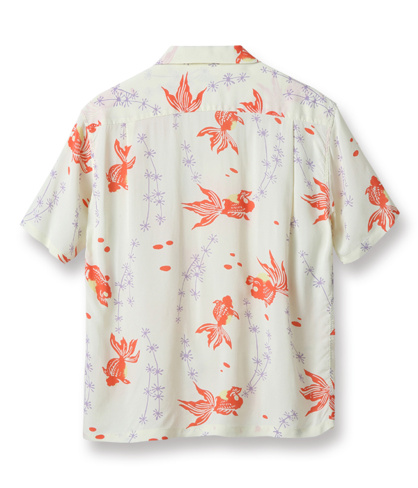 "Lot No. SS38314 / RAYON HAWAIIAN SHIRT ""GOLD FISH WITH LUCK"""