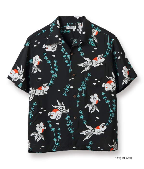 "入荷待ち / Lot No. SS38314 / RAYON HAWAIIAN SHIRT ""GOLD FISH WITH LUCK"""