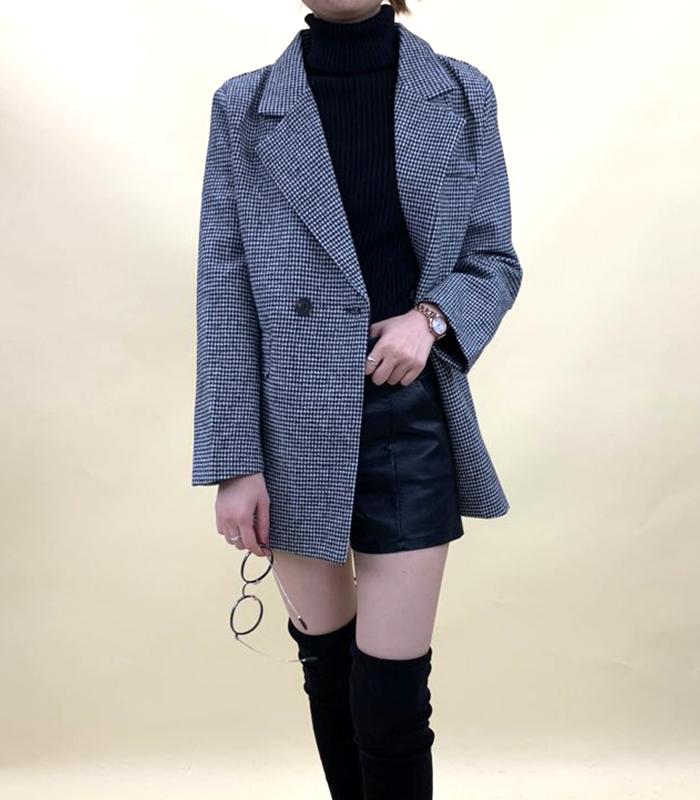 グレンチェックベルト付コート