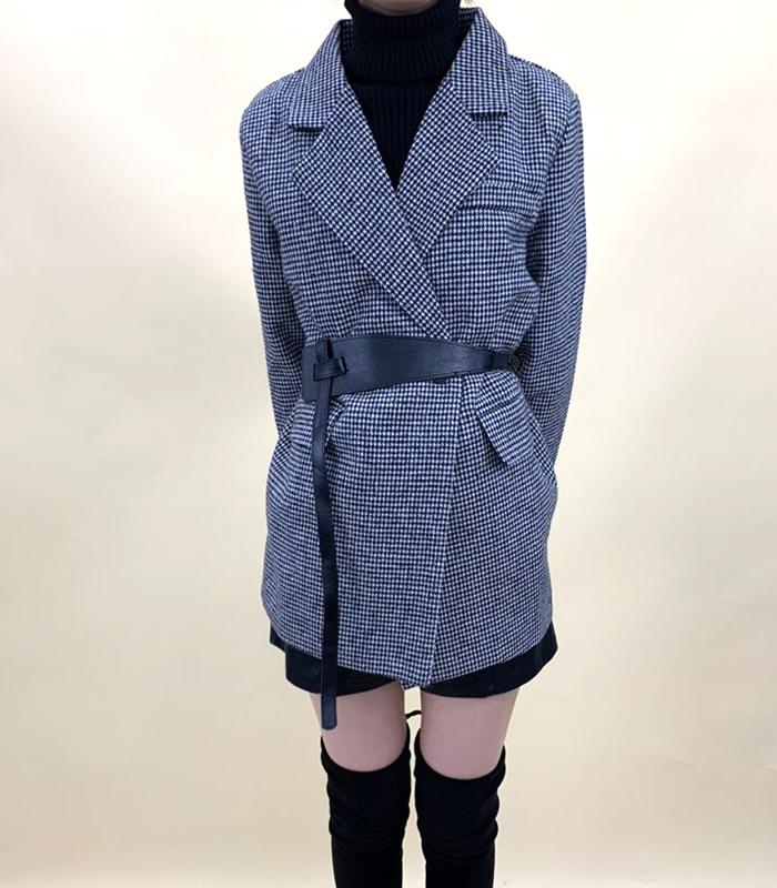Belt set glenn check pattern coat