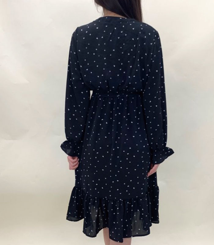 Frill sleeve heart pattern onepiece