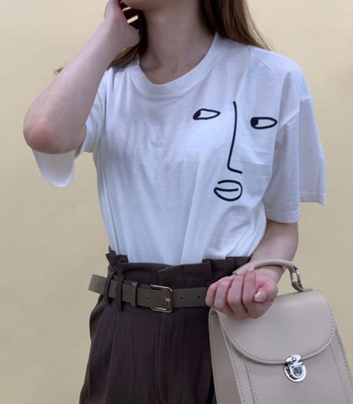 イラストフェイスTシャツ