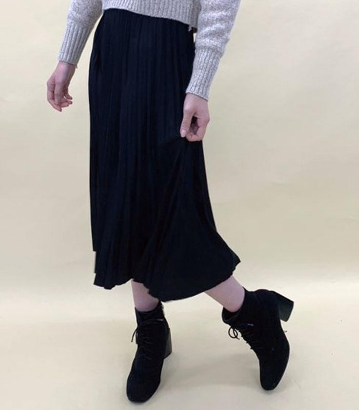 Suede pleats long skirt