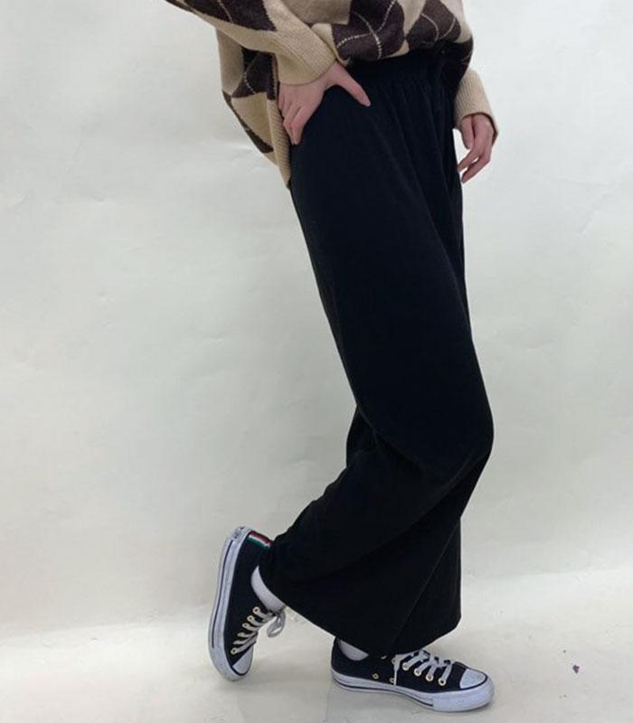 Knit call rib wide pants