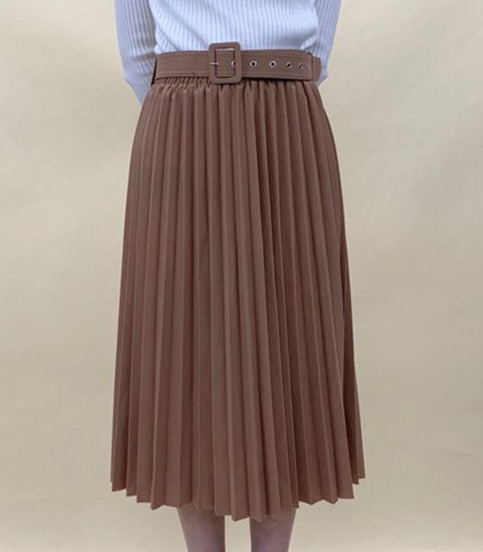 Pleats long skirt with belt
