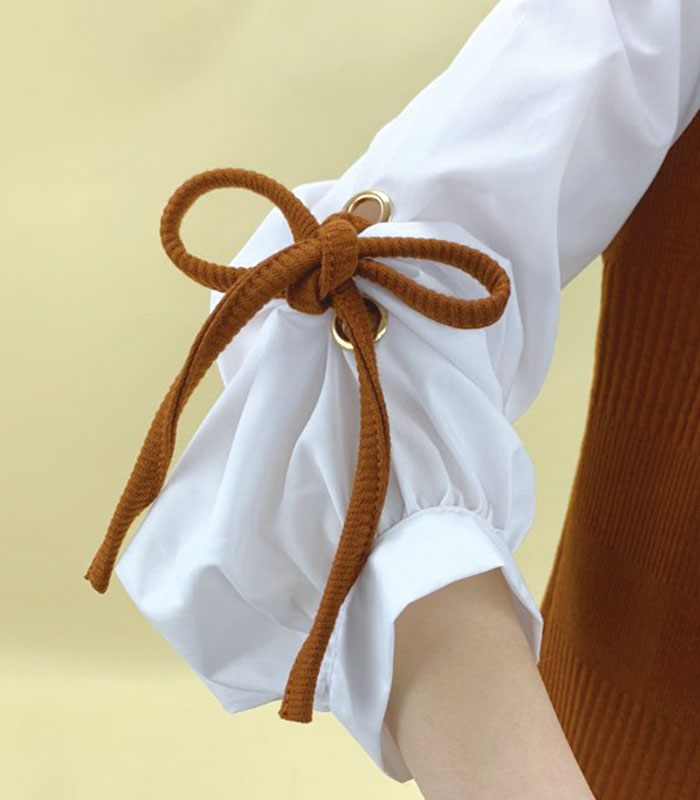 Frill sleeve shirt docking highneck knit onepiece