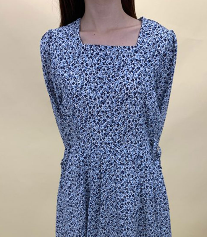 Flower pattern front ribbon onepiece