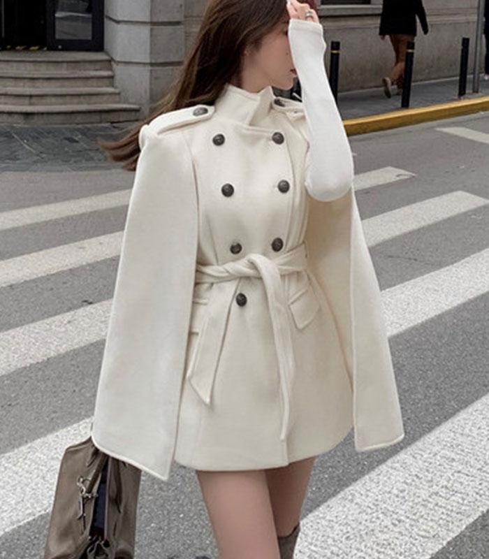 Belt set melton cape coat