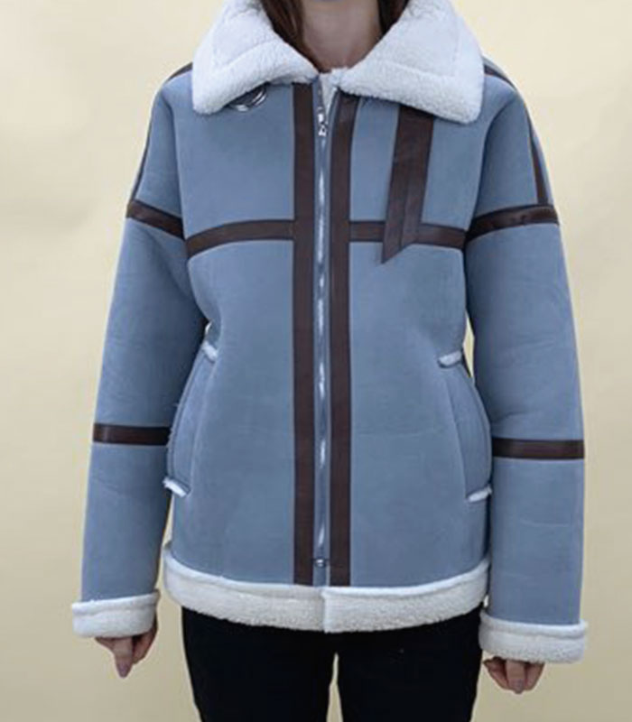 Leather piping mouton jacket