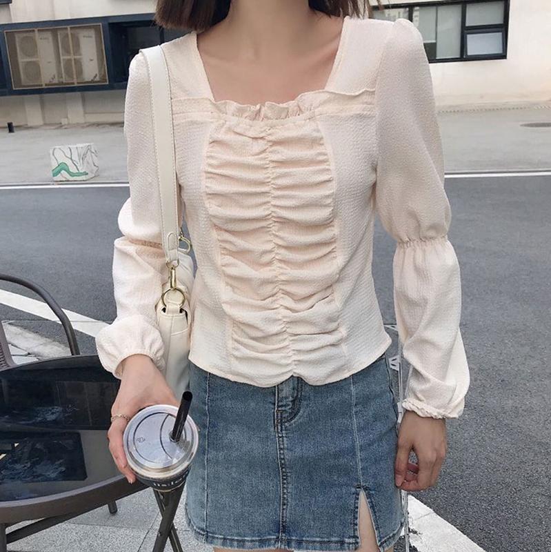 胸袖ギャザーTOPS