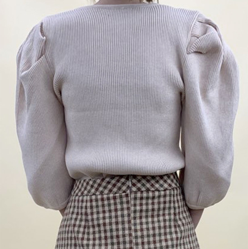 肩開き袖ボリュームニットTOPS