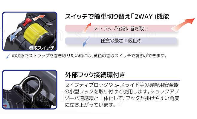 サンコー安全帯/タイタン ダブルランヤード SLN505-RW 巻取式 【墜落制止用器具/胴ベルト型/一般高所用/ダブルフック】