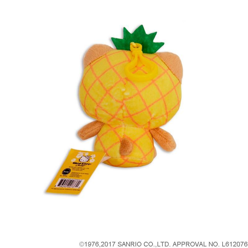 日焼けハローキティ×パイナップル クリップ付ぬいぐるみ