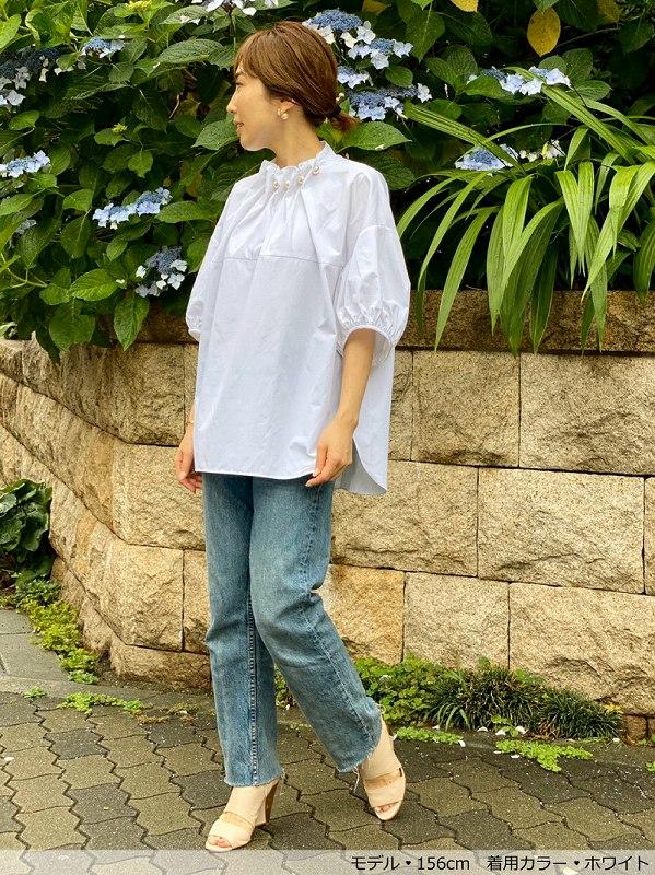 Bigパールブラウス〜5分袖丈