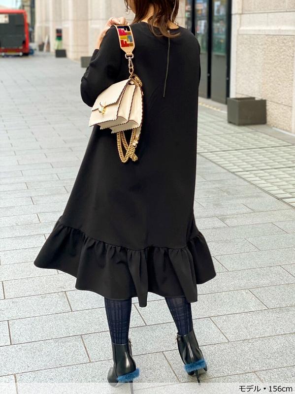 裾フリルフレアー長袖ワンピース〜long
