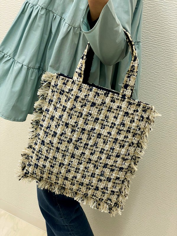 tweed bag(beige×navy)