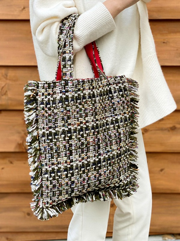 tweed bag(mix khaki)