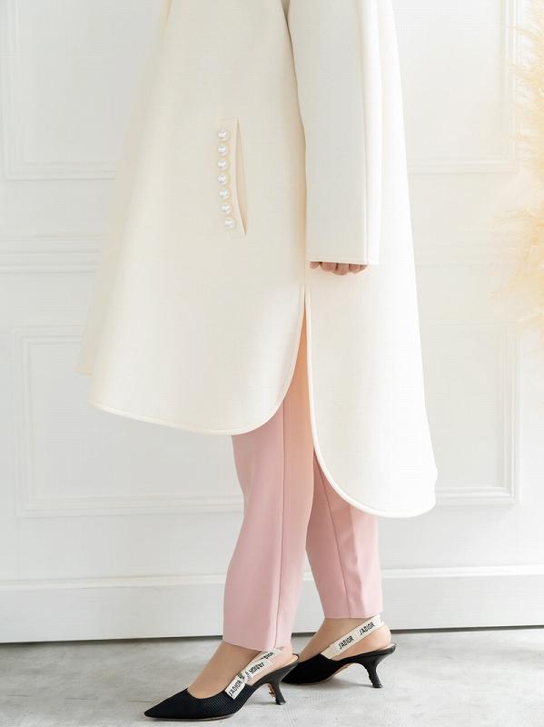 pearlボンディングコート〜ドットボタン付き