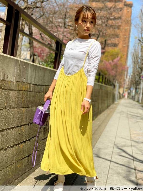 ギャザーたっぷりキャミワンピース〜ペチスカート付き