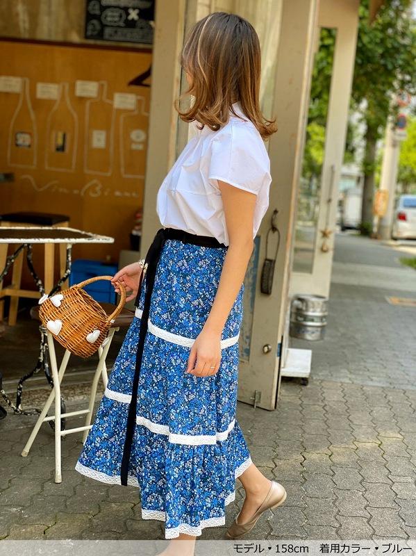 小花柄ティアードスカート〜リボンベルト付き