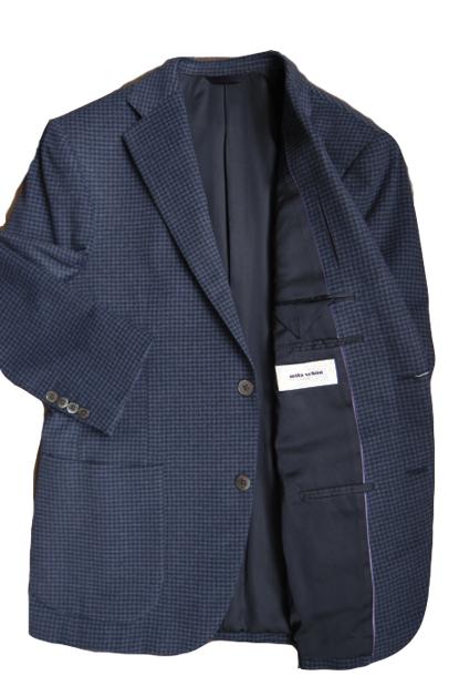 【OUTLET】 ミラショーン メンズジャケット ピュアカシミヤ ガンクラブチェック ブルー 46C(AB5) 48C(AB6) 50C(AB7) ms02