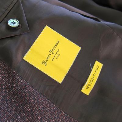 ヒッキーフリーマン メンズジャケット ブラウン シルク混 無地調 ネップ柄 AB4 AB5 AB6 AB7 2n3
