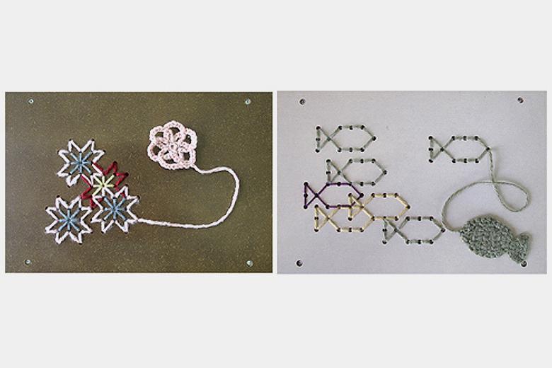 刺繍のサイドテーブル ブラウン / エレクトリックウィグ