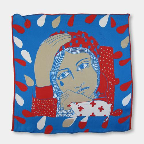 涙を拭う女のハンカチーフ ブルー(シルク100%) / カレン・マボン