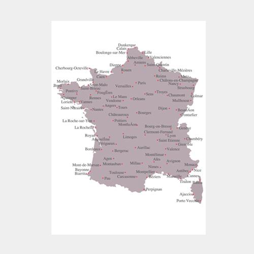 刺繍のポストカード フランス地図 / デタイルス・プロドゥクテ + イデーン