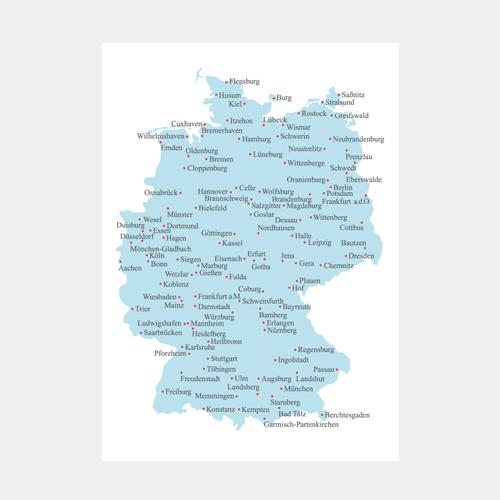 刺繍のポストカード ドイツ地図 / デタイルス・プロドゥクテ + イデーン