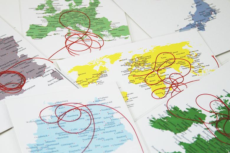 刺繍のポストカード 世界地図 / デタイルス・プロドゥクテ + イデーン