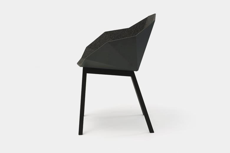 メタルシートと木脚の椅子 フエルト張り ダークグレー×脚ナチュラルアッシュ / フレデリック・ロイエ