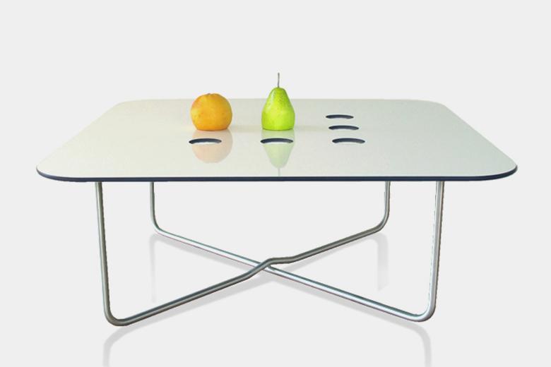 バステーブル+穴あきグレー柄ホワイトリバーシブル天板 / ルームサファリ