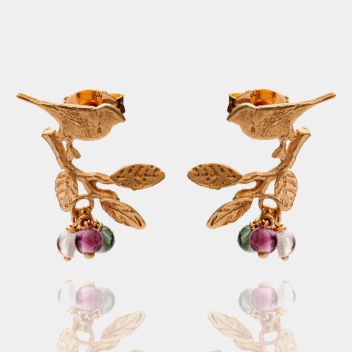 小枝の上の小鳥のピアス(ゴールド&トルマリン) / アマンダ・コールマン