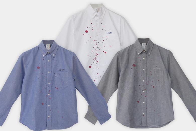 赤ワイン用シャツ 長袖  ホワイトカラー/ デザイン・アゲインスト・トレンド