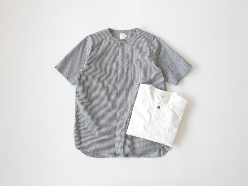 100/2ブロード 半袖比翼バンドカラーシャツ R34101 RINEN men