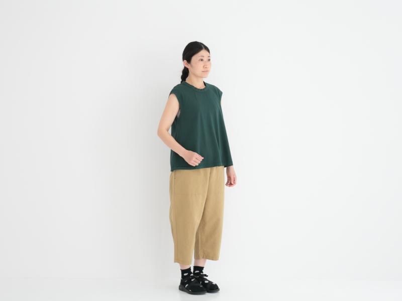 30/1リサイクルムラ糸天竺、TOP杢 フレアーノースリーブP92172  prit