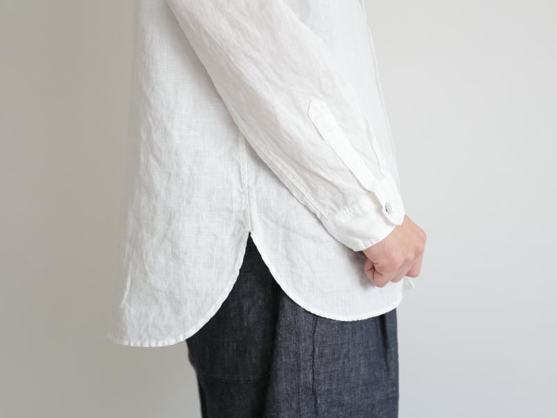 60/1リネン平織 バンドカラーシャツ R34106 RINEN men