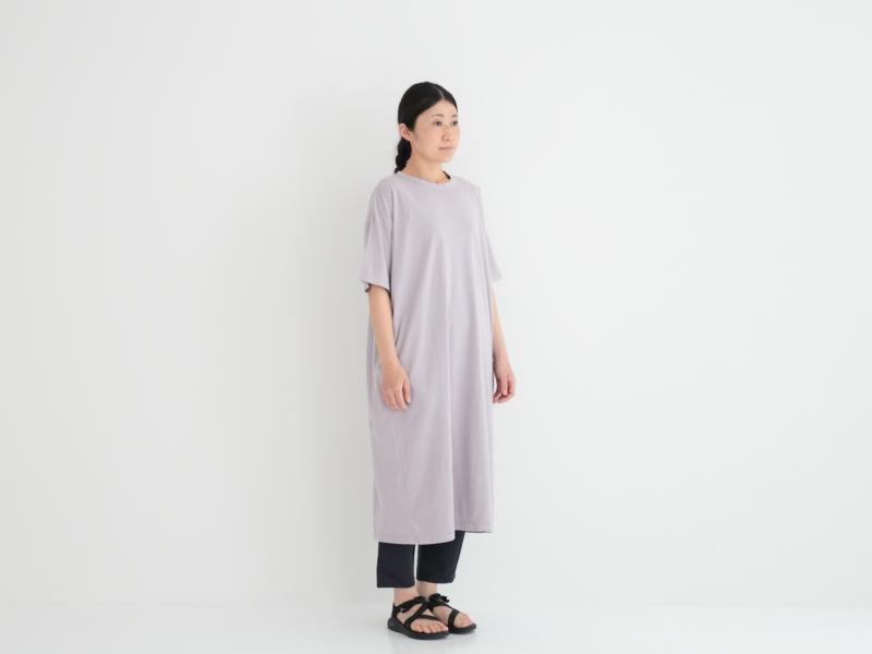 30/1リサイクルムラ糸天竺、TOP杢 5分袖ワイドワンピース P92175  prit
