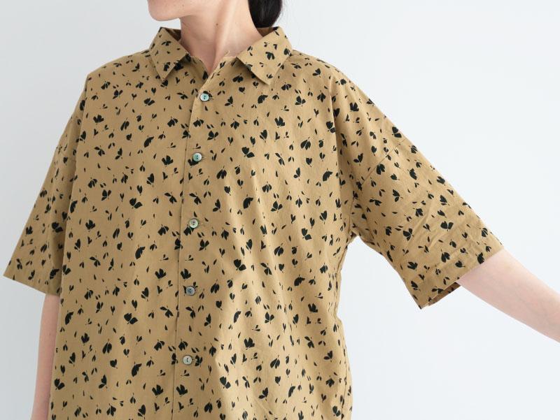 60/1ローンリーフプリント 5分袖開襟ワイドシャツP82141  prit
