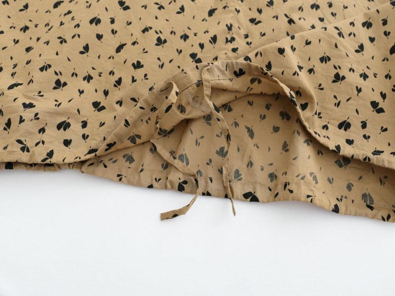 60/1ローンリーフプリント 5分袖キーネック裾ヒモビッグプルオーバーP82143  prit